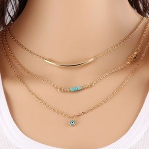 Jewelry - Layered Necklace with Good Luck Charm